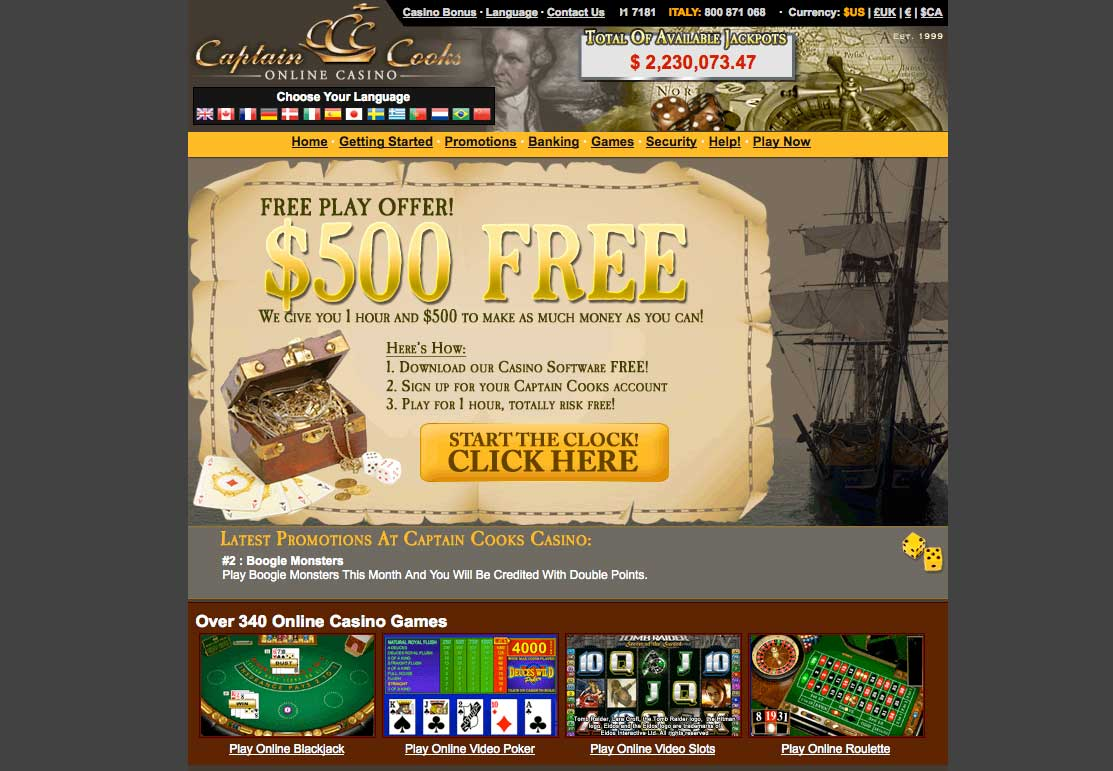 Captin cook casino casino bonus with no deposit