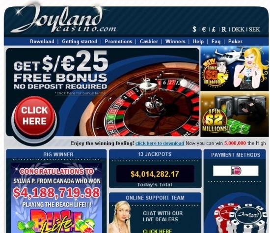 joyland casino bonus code