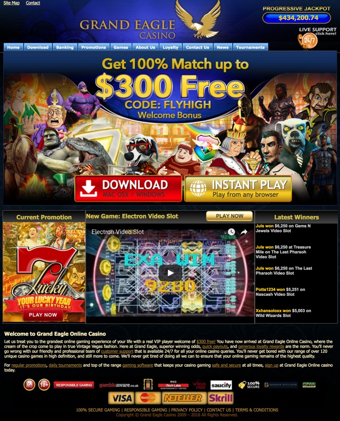 grand eagle casino bonus code