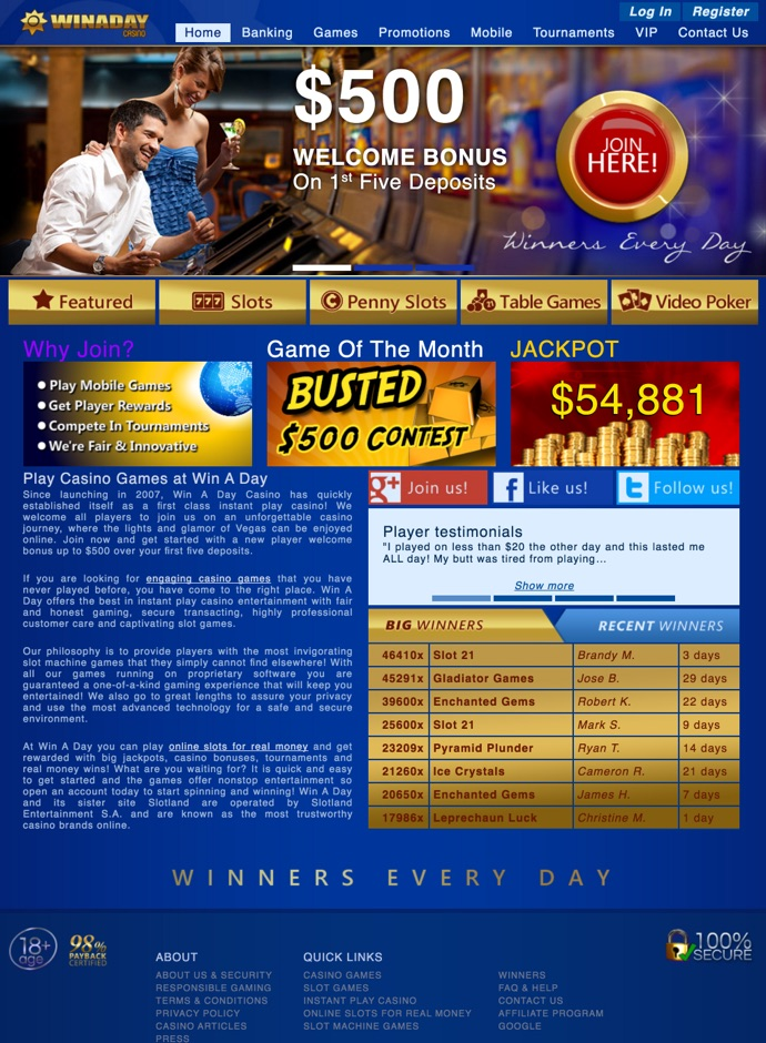 Win A Day Casino 33 No Deposit Bonus