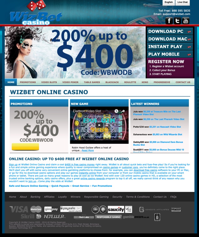 no deposit bonus codes for wizbet casino