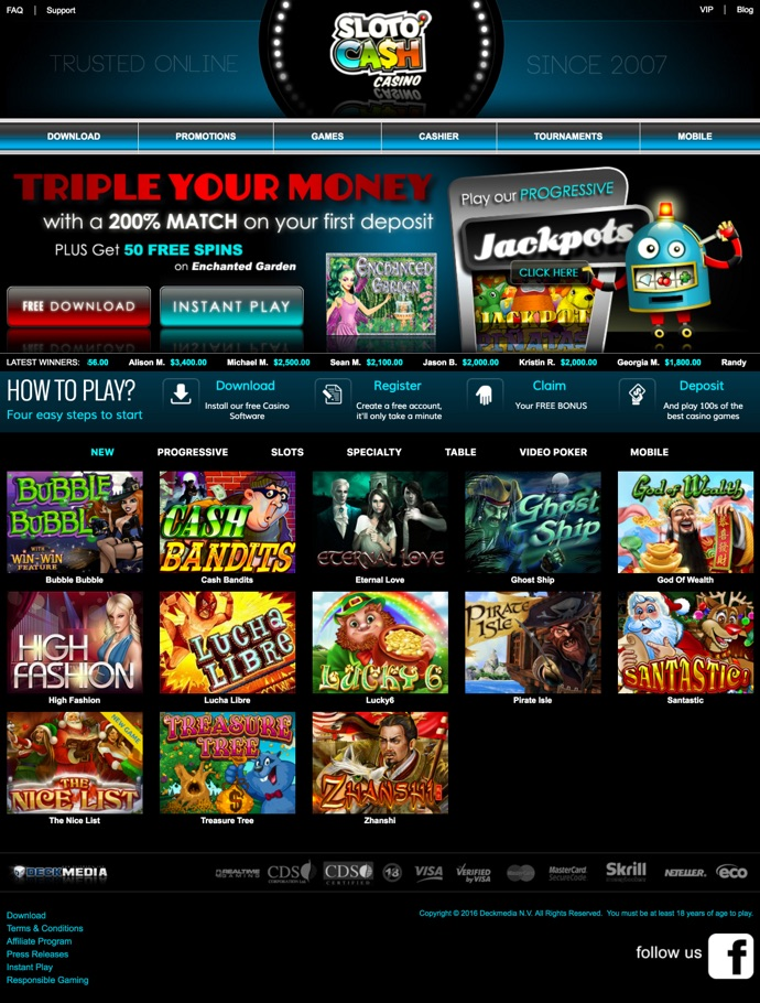 sloto cash casino no deposit bonus codes