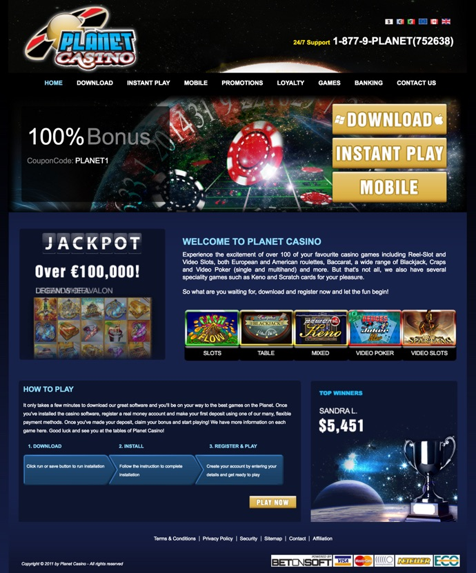 planet casino bonus codes