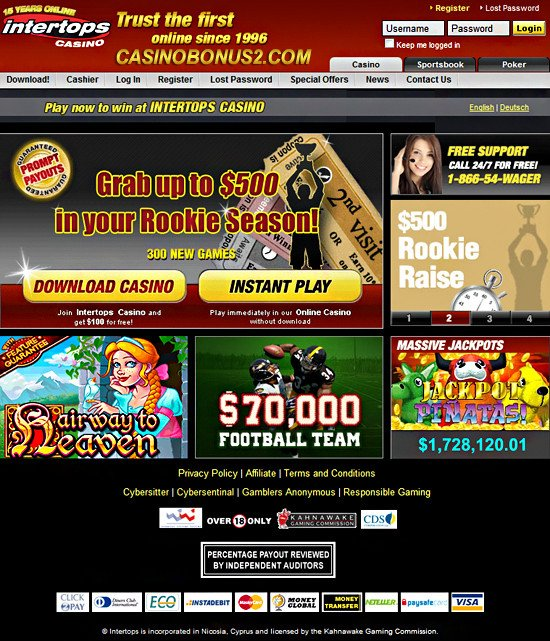 intertops casino bonus codes