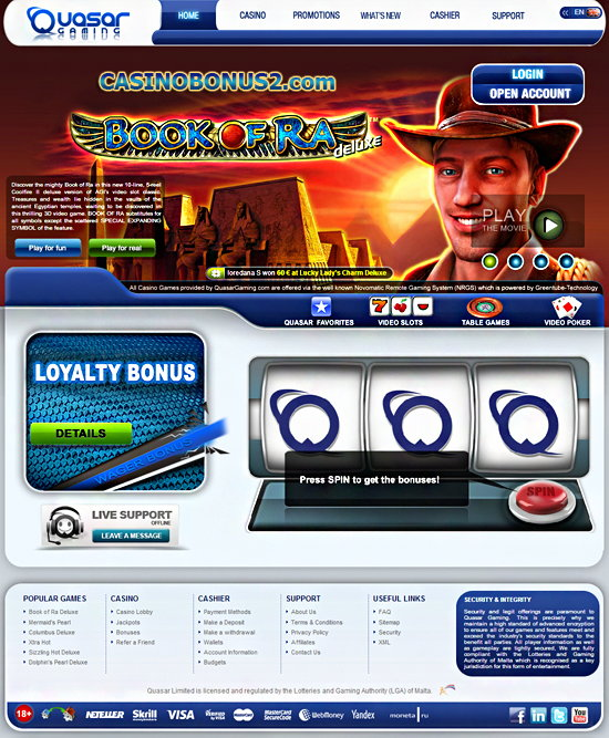 quasar gaming casino no deposit