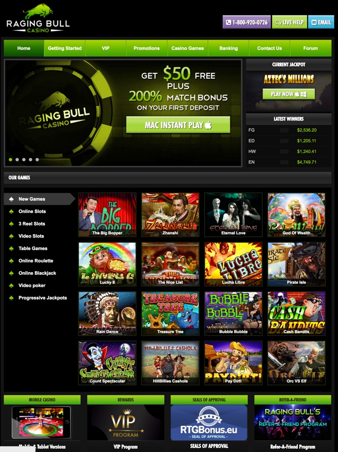 raging bull casino no deposit rtg