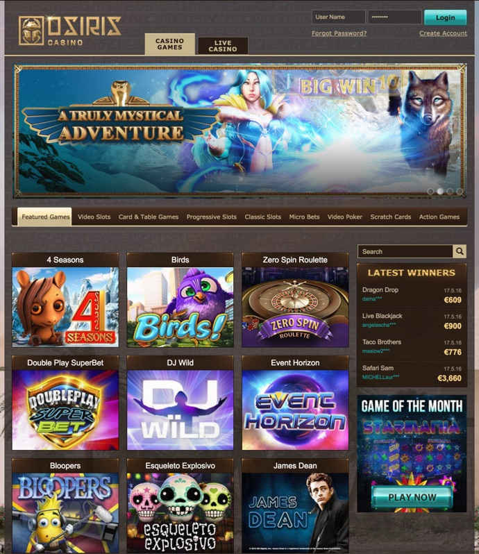 Promotions and bonuses at Osiris Casino