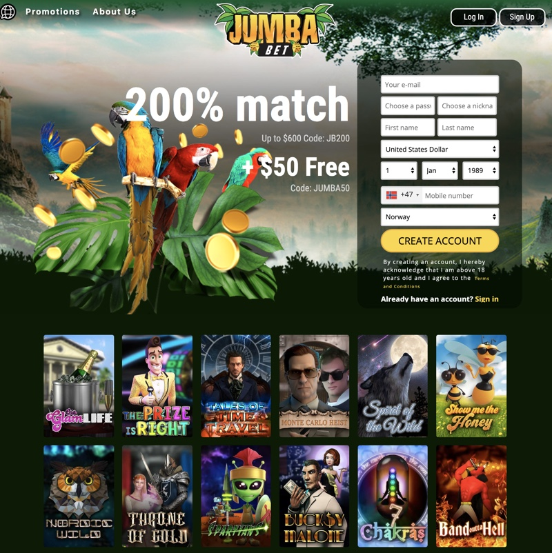 Jumba Bet Casino 2020 Review No Deposit Bonus Codes